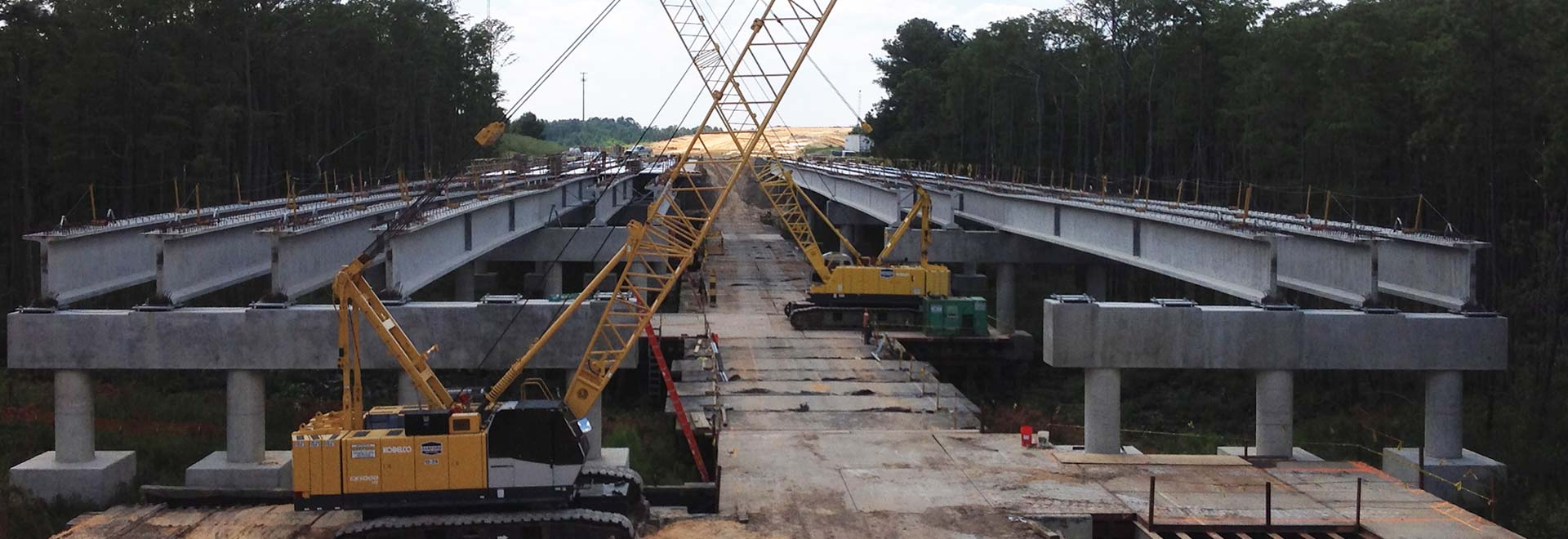 Crane Construction on Bridge