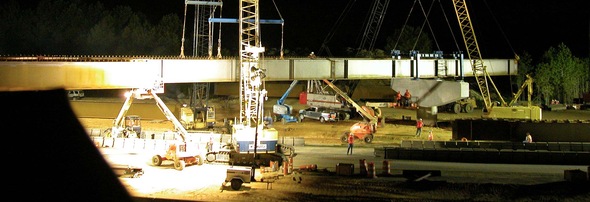 Night Construction on Bridge